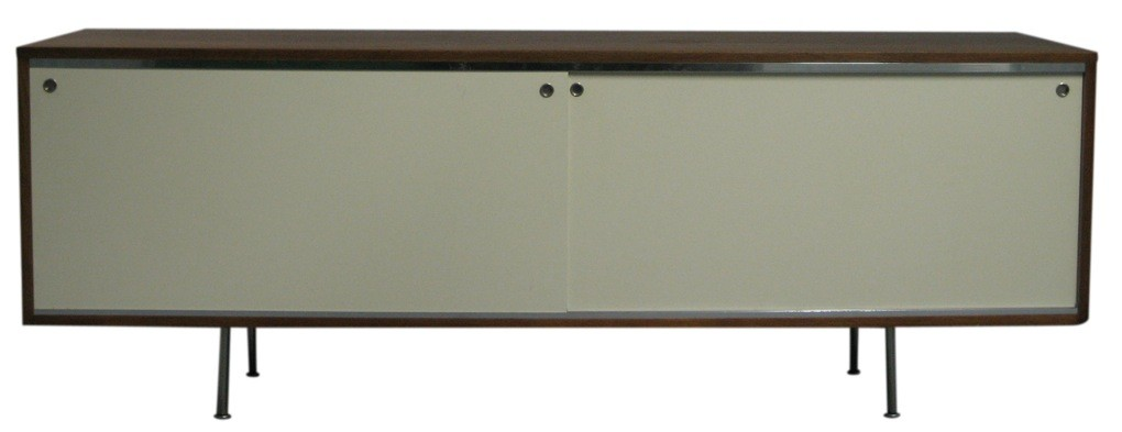 George Nelson Credenza With White Laminate Doors (BK)