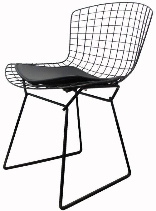 Vintage Bertoia Black Metal Grid Chair With Leather Seat Pad