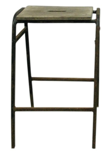 Vintage Stool Rusted Bent Metal Frame Slotted Unfinished Wood Seat Bk