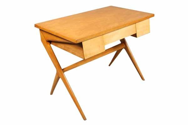 Vintage X-Leg Wood Desk With Two Drawers