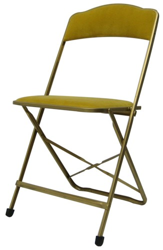 Vintage Metal Folding Chair With Velvet Seat And Back (BK)