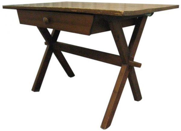 Antique X-Leg Desk With Drawer (BK)