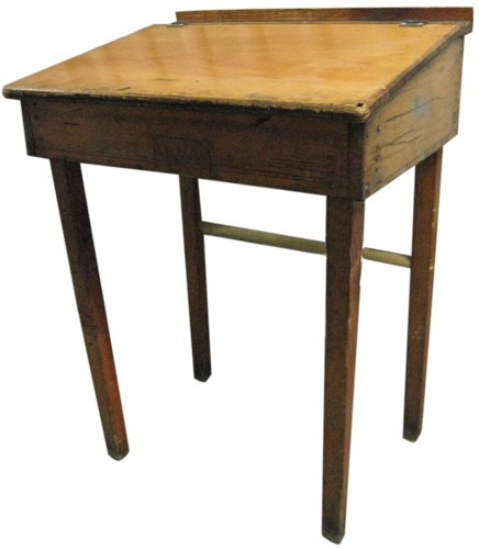 Antique School Desk With Hinged Lid (BK)