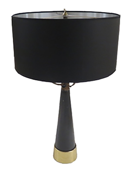 Vintage Lightolier Table Lamp With Brass Trim