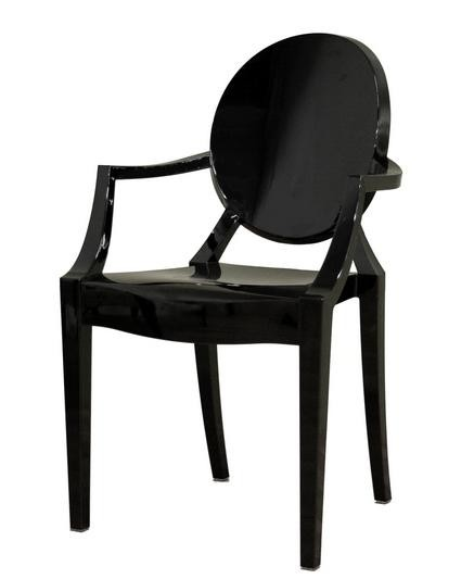 Black Lucite Louis Ghost Chair By Kartell