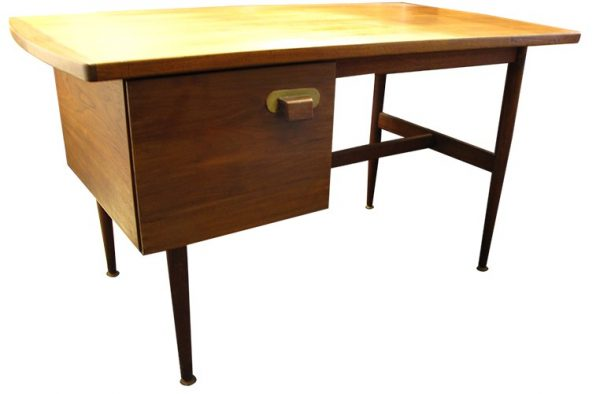 Modern Teak Desk With Side Drawer, Brass Handle (BK)