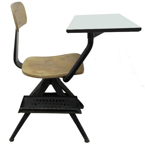 Vintage Childs School Chair With Attached White Painted Desktop