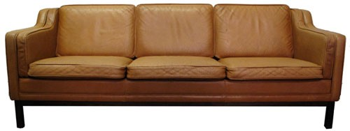 Vintage Brown Leather Sofa Bk Lost