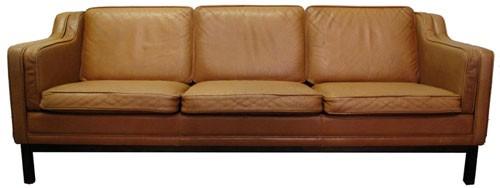 Vintage Brown Leather Sofa Bk