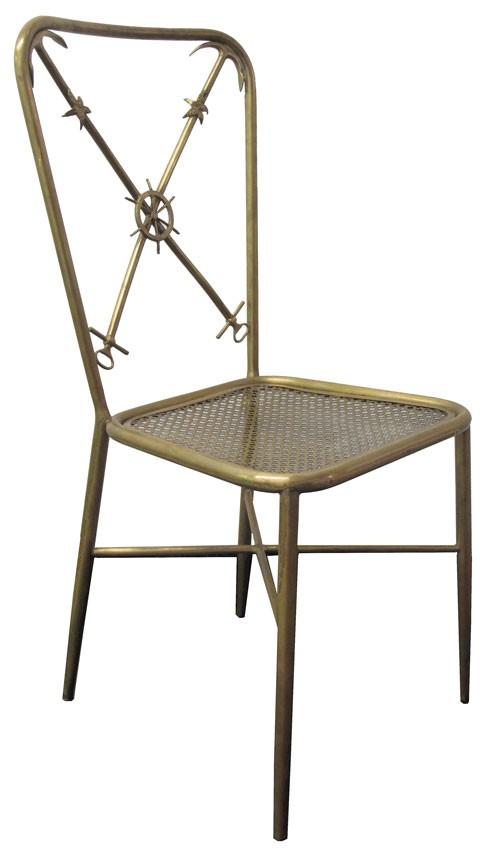 Brass Italian Nautical Theme Side Chairs