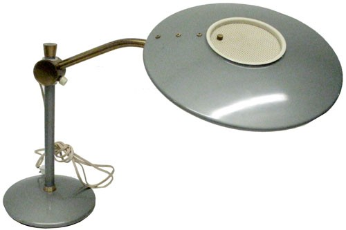 Vintage Dazor Lamp With Enameled Steel Fibergl Shade And Br Hardware