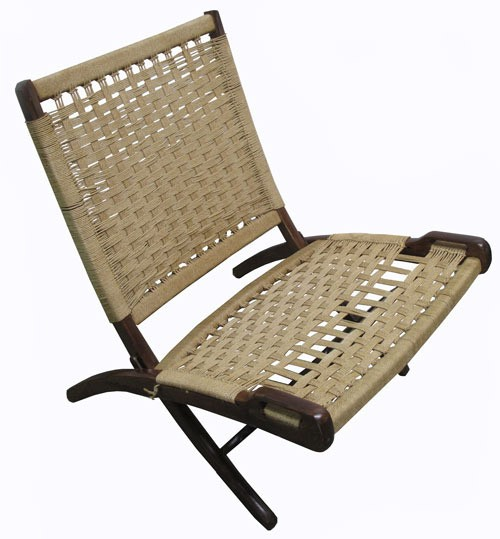 Vintage Teak And Rattan 60s Wegner Style Lounge Chair