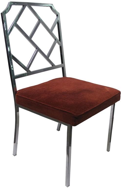 Chrome Hollywood Regency Chair With Red Velvet Seat