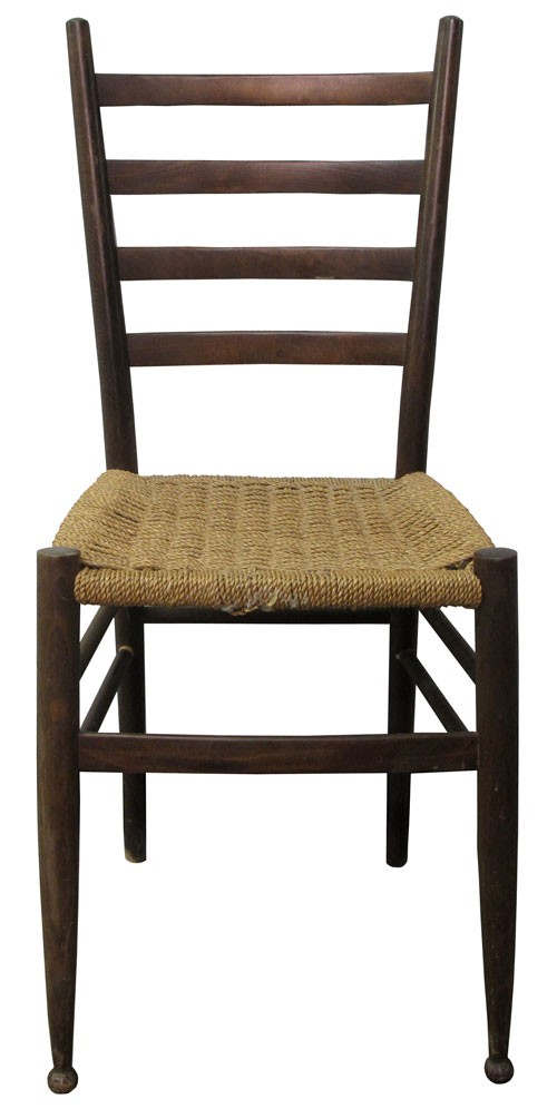 Rustic Ladder Back Cane Chair With Woven Seat
