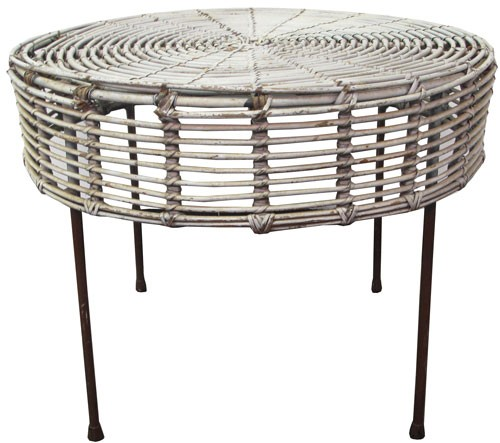 Large 1950s White Wicker Side Table Matches No 25145 Bk Lost
