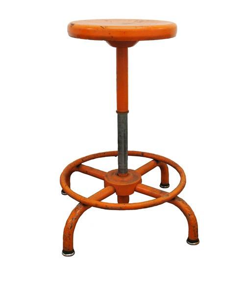 Sensational Industrial Adjustable Orange Metal Stool Squirreltailoven Fun Painted Chair Ideas Images Squirreltailovenorg