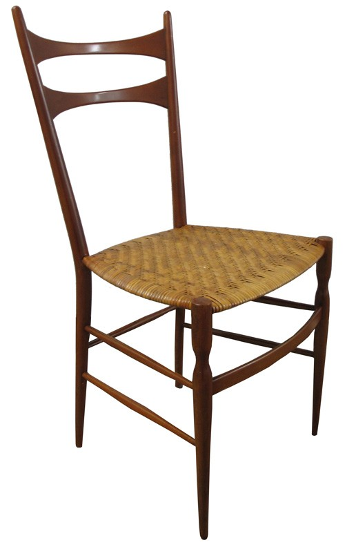 Gio Ponti Style Honey Toned Dining Chair