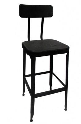 Strange Tall Black Metal Stool Industrial Damaged Backrest Machost Co Dining Chair Design Ideas Machostcouk