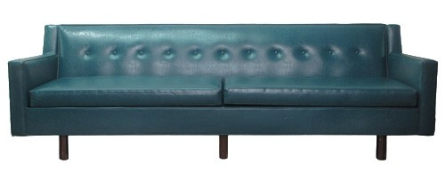 Tufted Modernist Teal Leather Sofa