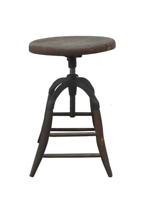 Tremendous Rustic Four Legged Adjustable Stool Wood Seat And Metal Frame Ibusinesslaw Wood Chair Design Ideas Ibusinesslaworg