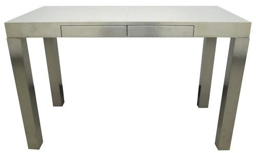 Modern Silver Leaf-like Finished Desk with Nailed Detailing