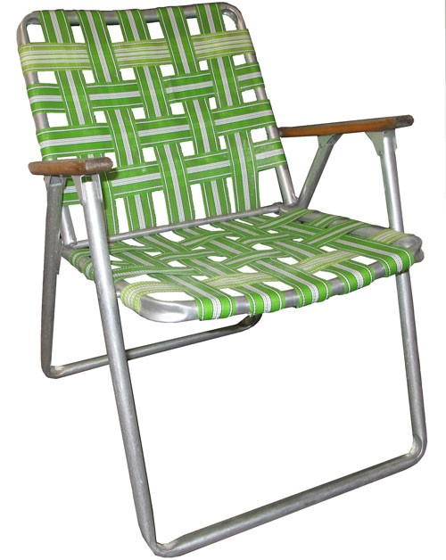Folding Lawn Chair With Green Nylon Straps And Wood Armrests   Lost And  Found