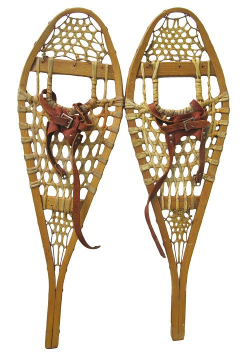 Snowshoe Stretched Animal Hide Red Brown Leather Foot Straps