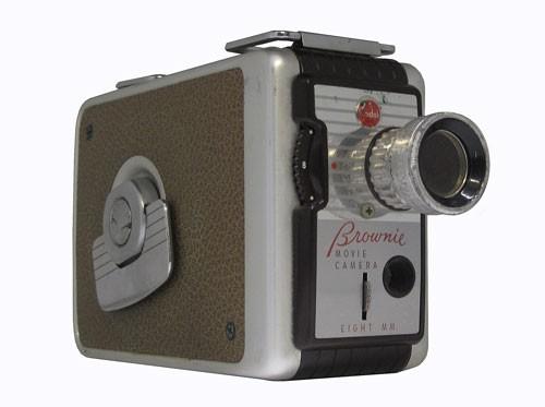 Metal Silver and Brown Kodak Brownie 8mm Movie Camera
