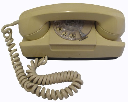 Vintage Cream Rectangle Shape Rotary Phone