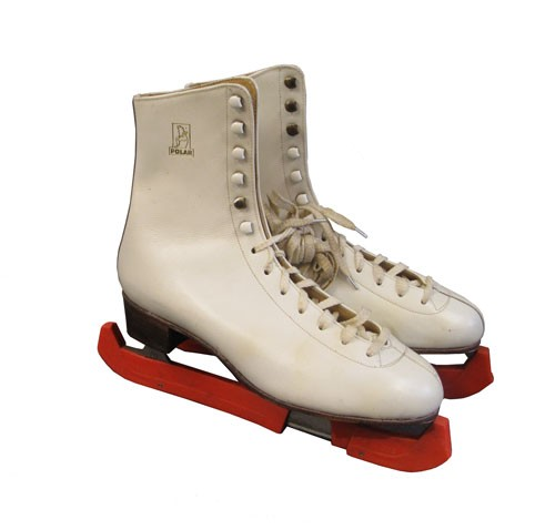 White Leather Ice Skates with Red Blade Protectors