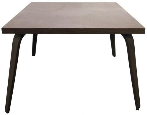 Vintage Thonet Dark Brown Wood Veneer Coffee Table With Bent Legs (BK)