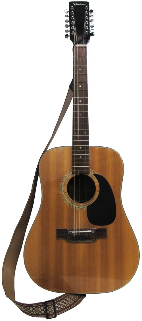 Vintage 12 String Acoustic Ventura Guitar With Strap Lost And Found