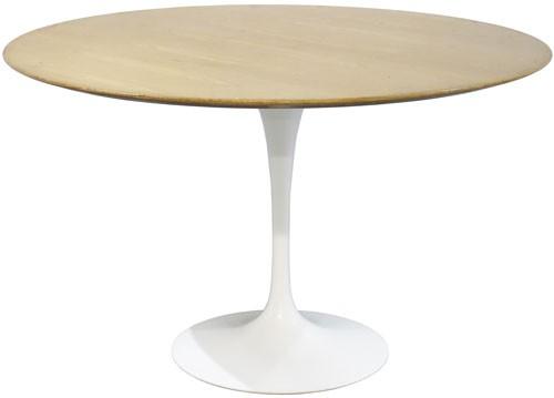 Vintage Saarinen Tulip Dining Table With Weathered Walnut Top Bk