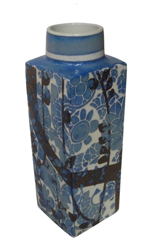 Ceramic Blue Danish Square Vase Lost And Found