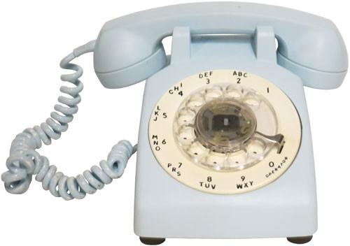 Vintage Rotary Telephone Spray Painted Powder Blue