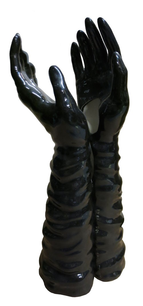 Black Ceramic Hands and Forearms Vase