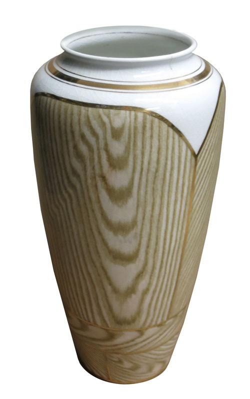 Ceramic Vase White And Beige Faux Wood Grain With Gold Line Trim