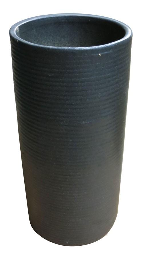 Black Cylinder Ceramic Vase With Horizontal Ridges Lost And Found