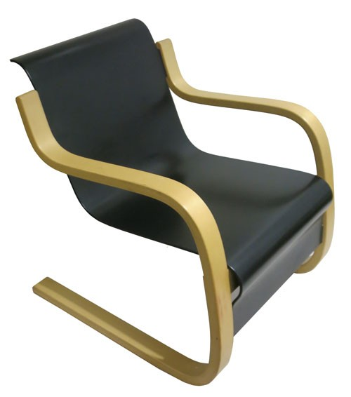 Black Bent Plywood Lounge Chair With Curved Blonde Frame By Alvar Aalto (BK)