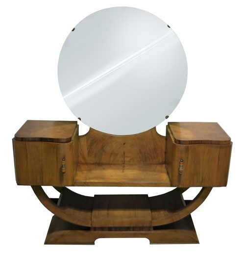 Vintage Art Deco Wood Vanity Table With Round Mirror Bk Lost And