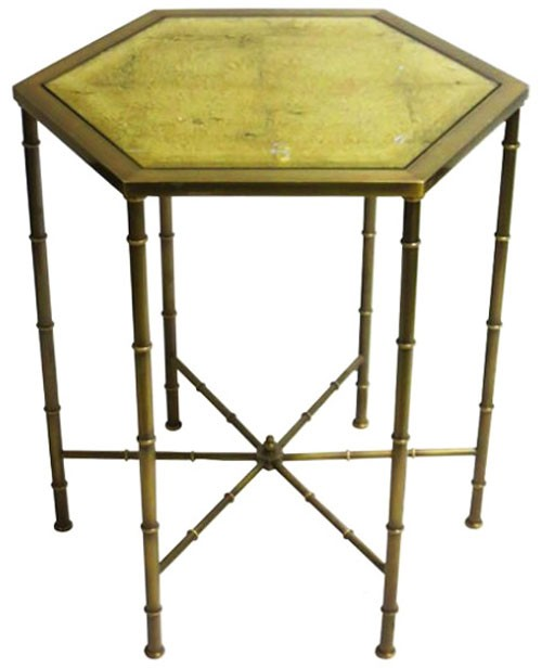 Br And Gold Hexagon Side Table With Leaf Gl Top