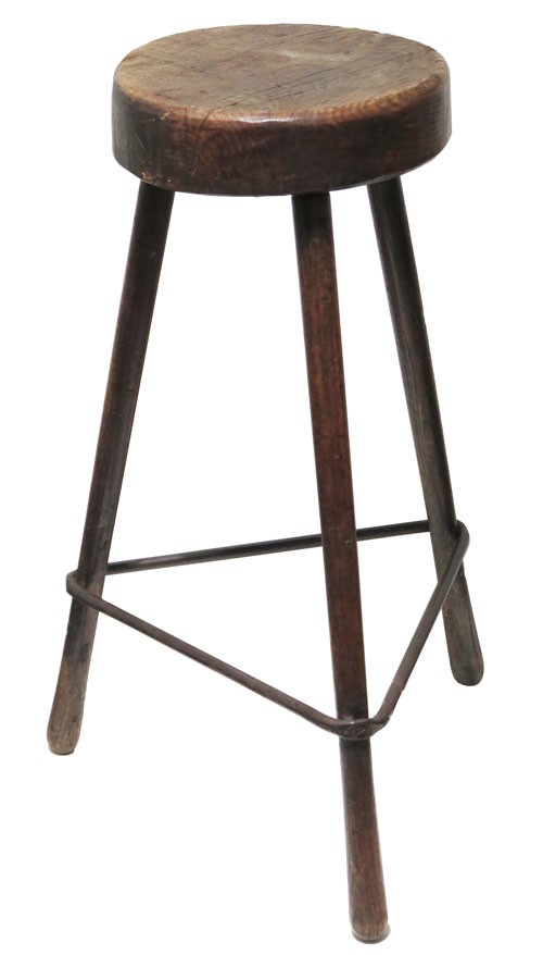 Astounding Industrial Dark Brown Wood Stool With Round Wood Seat And Triangle Metal Brace Ibusinesslaw Wood Chair Design Ideas Ibusinesslaworg