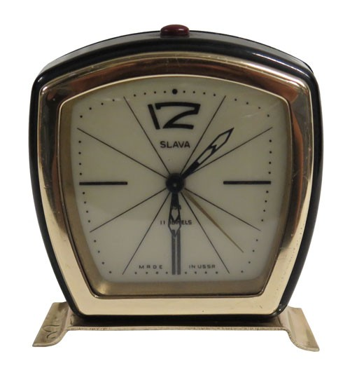 Black and Gold Metal Vintage Alarm Clock Made in USSR - Lost
