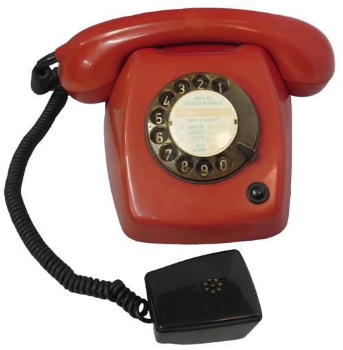 Vintage Red European Rotary Phone w/ Extra Listening Earpiece