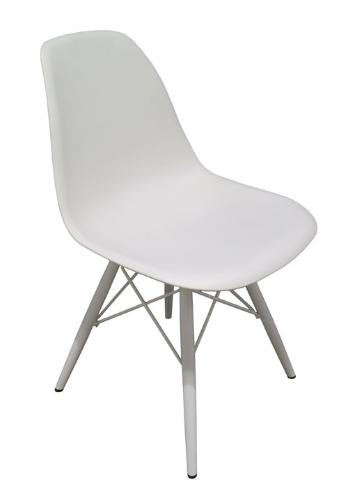 Superbe White Plastic And Metal Eames Style Chair With Eiffel Tower Base