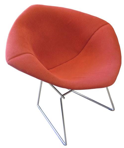 Red Upholstered Bertoia Diamond Chair (BK)
