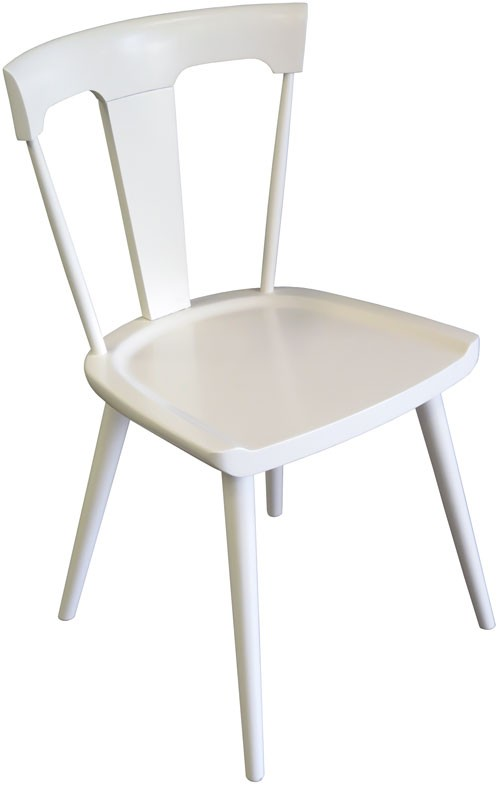 White Wood Captainu0027s Style Chair With Center Backsplat