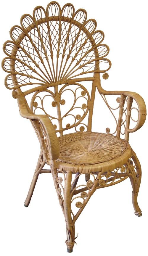 Charmant Ornate Natural Rattan Peacock Chair (BK)