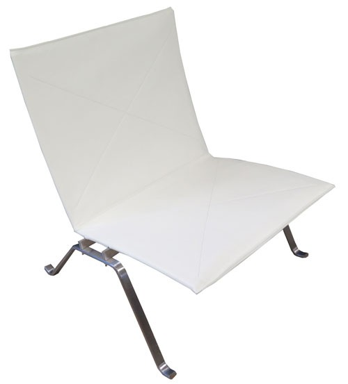 White Leather Meso Chair With Chrome Legs