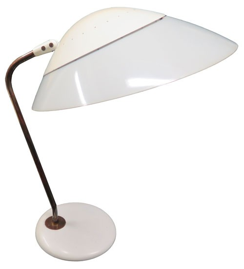 Vintage Cream Enamel And Bakelite Gerald Thurston For Lightolier Desk Lamp